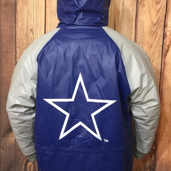 the best attitude c0db0 40f1a VTG Dallas Cowboys Waterproof Hoodie Jacket Sz XL